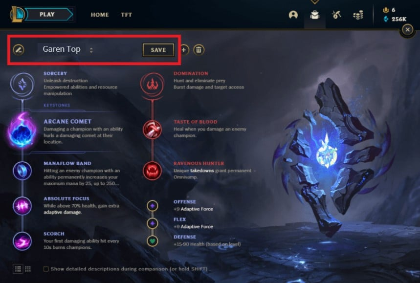 save and rename Rune pages